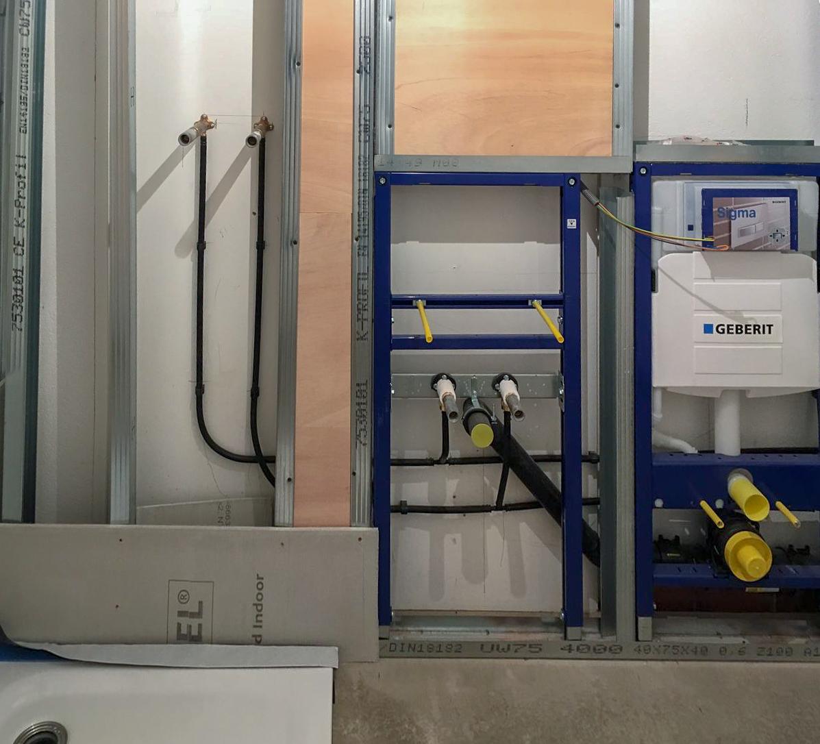 Sanitäre Installation vor dem Verplanken